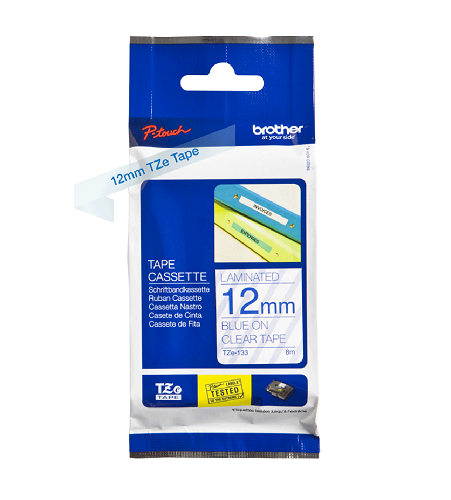 Brother Genuine Blue on Clear P-Touch Tape(TZe-133)