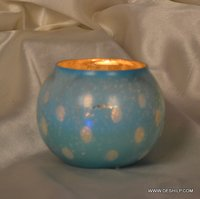 COLORFUL SILVER FINISH GLASS CANDLE HOLDER