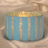 ROUND GLASS  SILVER COLORFUL CANDLE VOTIVE