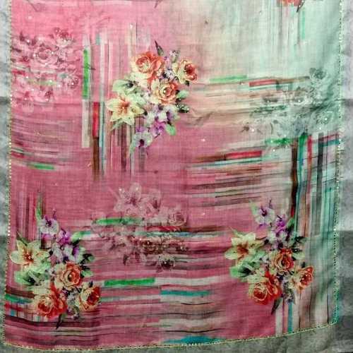 Linen digital printed mirrorwork sarees
