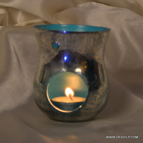 SILVER FINISH GLASS AROMA CANDLE