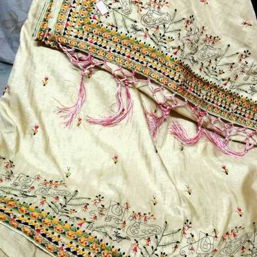 Tassar Embroidery Work Sarees