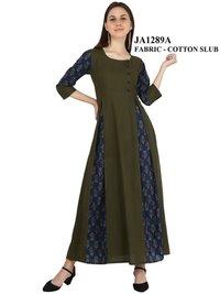 Designer Cotton Green Color Kurti