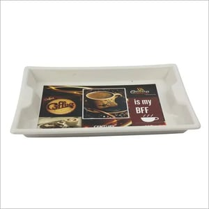 Floral Print Plastic Serving Tray