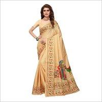 Animal Printed Cotton Silk Saree