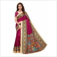Big Peacock Printed Kalamkari silk Saree