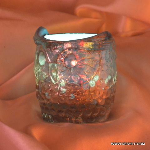 ANTIQUE GLASS T OWL SHAPE CANDLE VOTIVE