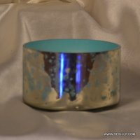 SILVER FINISH GLASS TABLE BOWL