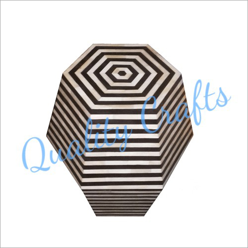Hexagonal Bone Inlay side Stool