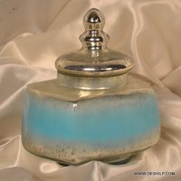 COLOR SILVER GLASS JAR WITH LID