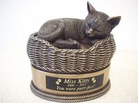 Cat in Basket Urn Bronze