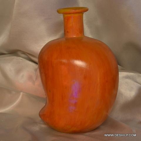 MANGO SHAPE DECORATED GLASS FLOWER VASE