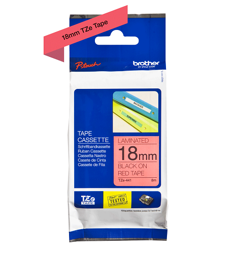 Brother Genuine Black on Red P-Touch Tape(TZe-441)