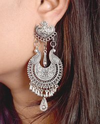 Fashion Stylish Oxidised Silver Earrings