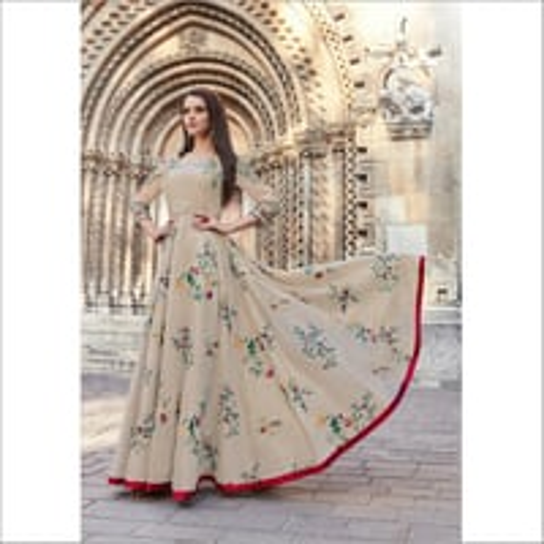 Women Floral Print Designer Gown