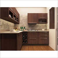 Wooden L Shaped Modular Kitchen