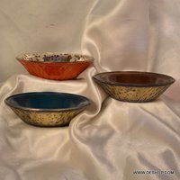 COLORFUL GLASS SILVER FINISH BOWLS