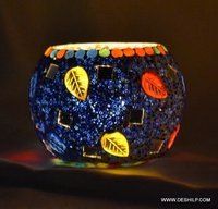 MOSAIC DECOR GLASS CANDLE HOLDER