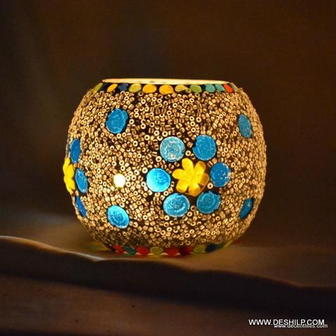 Beautiful Mosaic Glass Candle Holder