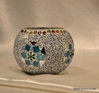 Mosaic Glass Candle Holder Handmade Votive