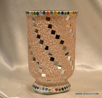 Mosaic Glass Candle Holder Handmade