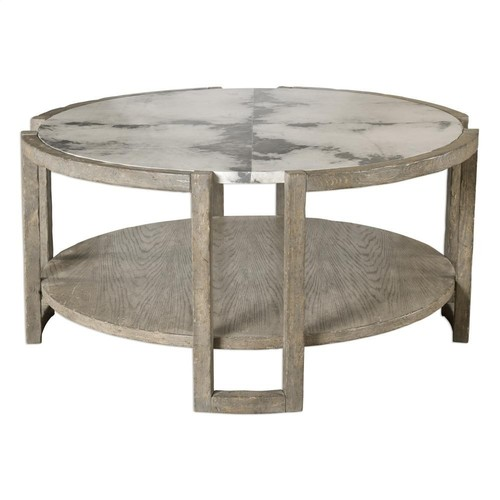 MARBLE TOP AND WOODEN SHELF COFFEE TABLE