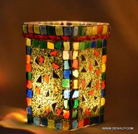 MULTI MOSAIC SMALL CANDLE HOLDER