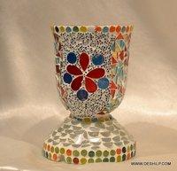 MOSAIC HURRICANE SHAPE GLASS CANDLE VOTIVE