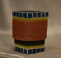 ANTIQUE EFFECT MOSAIC CANDLE HOLDER