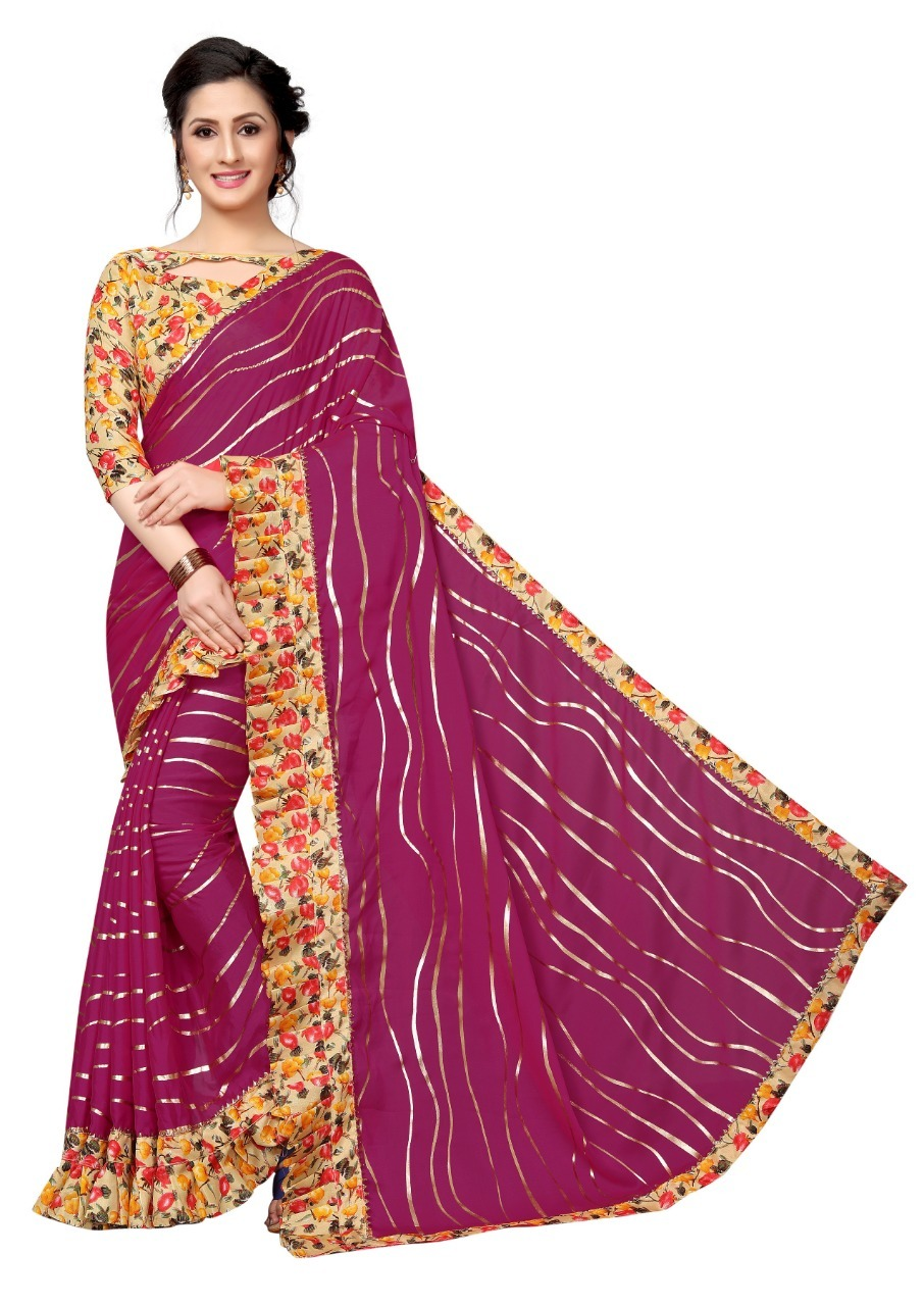 Ruffele Laheriya Satin Saree