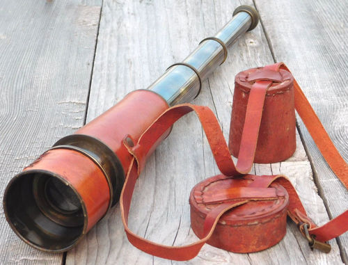 Brass Telescope Spyglass with Leather Carry Case Vintage Maritime Telescope