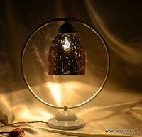SILVER FINISH ANTIQUE GLASS TABLE LAMP