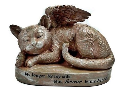Sleeping Cat with Angel Wings Garden Statue Memorial Pet