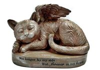 Sleeping Cat with Angel Wings Garden Statue Memorial Pet