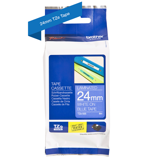 Brother Genuine White on Blue P-Touch Tape(TZe-555)