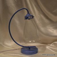 CLEAR GLASS AND BLUE FITTING COMBO TABLE LAMP FOR NIGHT STUDY