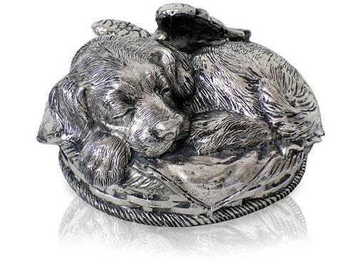 Sleeping Angel Dog Metal Urn Silver