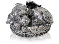 Sleeping Angel Dog Metal Urn Silver