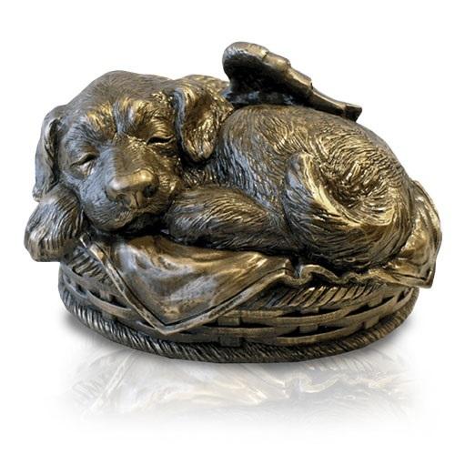 Sleeping Angel Dog Cremation Urn Bronze