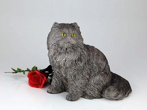 Gray Cat Cremation Pet Urn