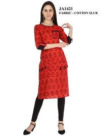 Straight Cotton Red Color Kurti