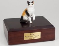 Cat Figurine Cremation Urn with wood base