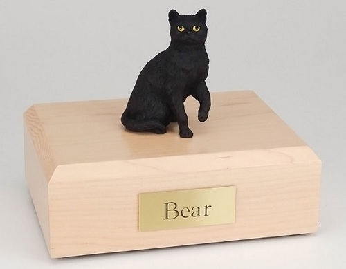 Cat Figurine Cremation Urn with Smooth wood