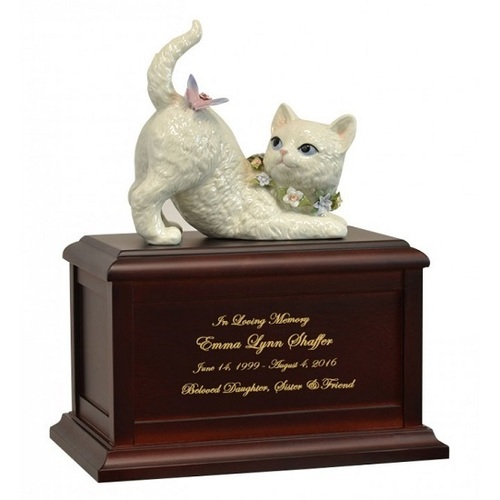 Cat and Butterfly Companion Redwood Urn