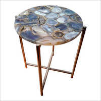 Marble Top Metallic Side Table