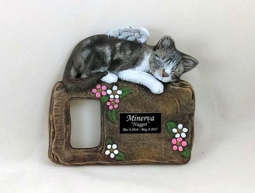CUSTOM PAINTED CERAMIC MEMORIAL CAT PICTURE FRAME