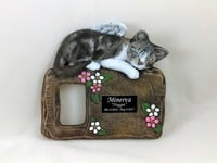CUSTOM PAINTED CERAMIC MEMORIAL CAT PICTURE FRAME