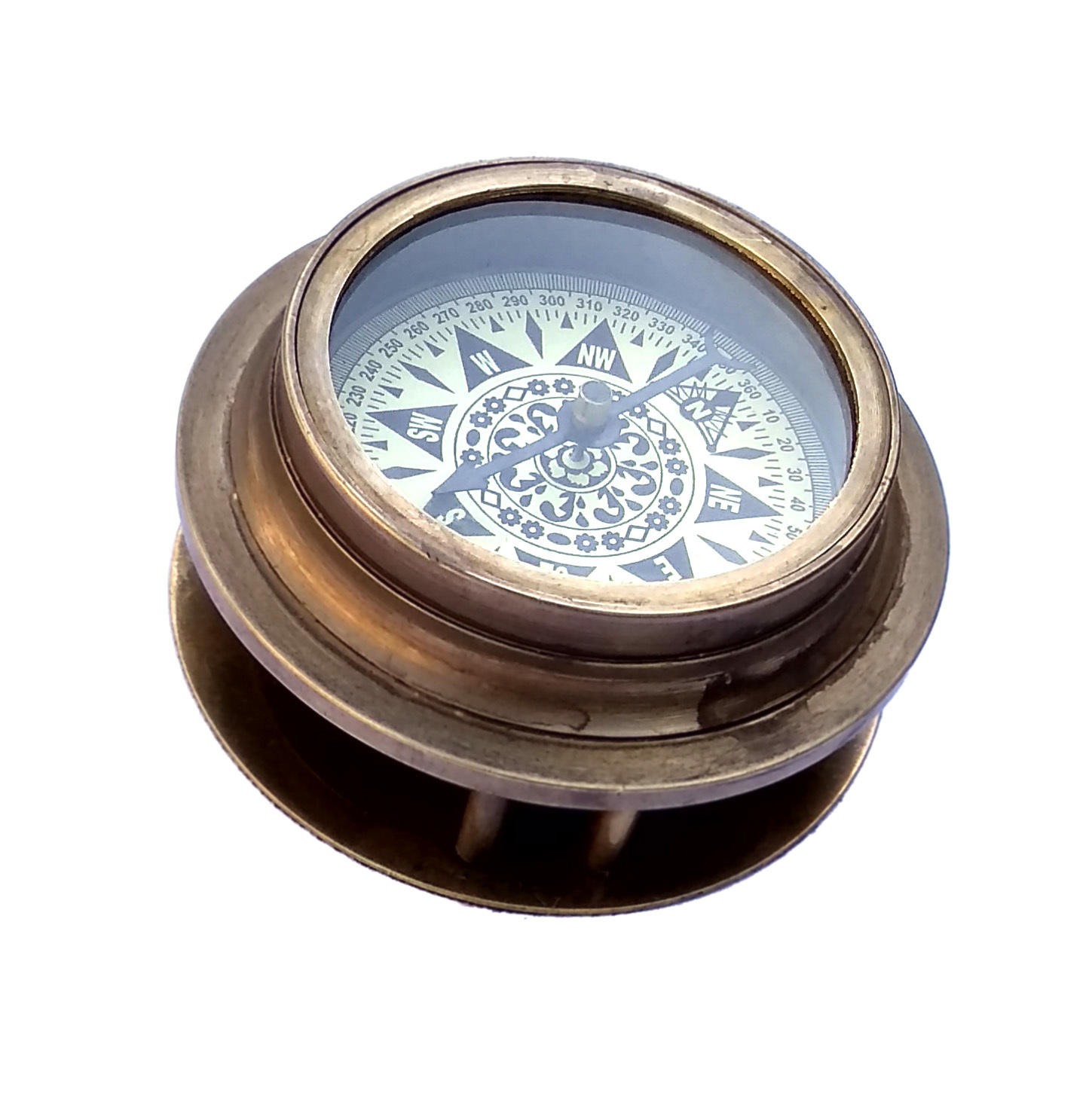 Brass magnifying compass