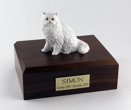 White Cat Figurine Urn Chocolate wood