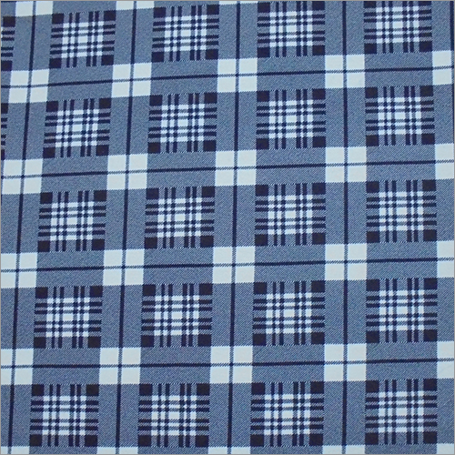 Blue Knitted  Check Printed Fabric